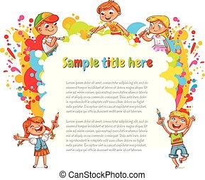 crianças, desenhar, abstratos, manchas