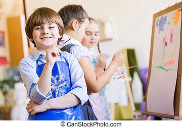 crianças, desenho, e, quadro