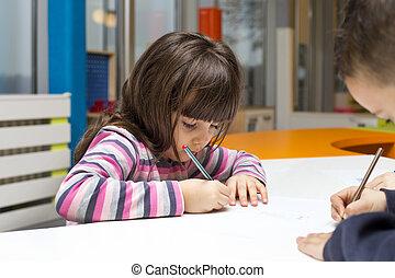 crianças, desenho, em, playroom