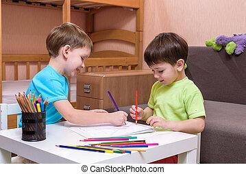 crianças, desenho, junto, casa