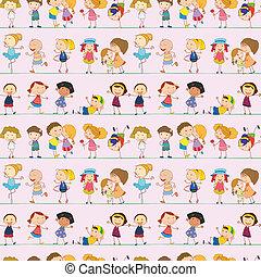 crianças, desenho, seamless