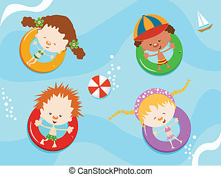 crianças, desfrutando, água