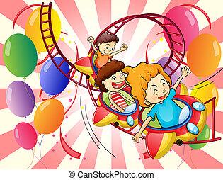 crianças, desfrutando, a, coaster rolo, passeio