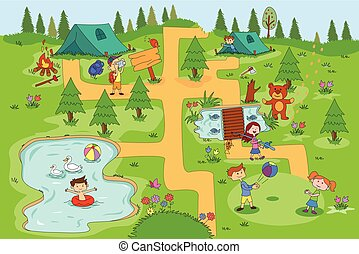 crianças, desfrutando, acampamento verão, atividades