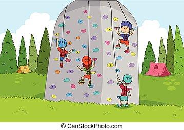 crianças, desfrutando, acampamento verão, escalar rocha,...
