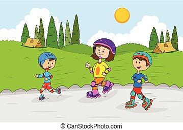 crianças, desfrutando, acampamento verão, patinação,...