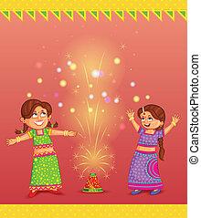 crianças, desfrutando, firecracker, celebrando, diwali