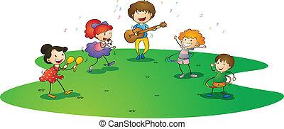 crianças, desfrutando, música