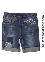 crianças, -, desgaste, calças brim, shorts