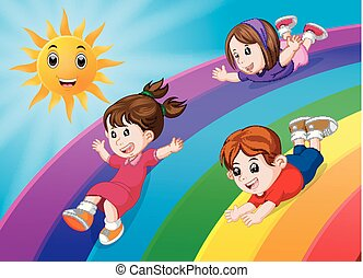 crianças, deslizamento, ligado, arco íris, em, céu