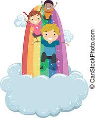 crianças, deslizamento, ligado, um, arco íris, escorregar