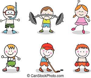 crianças, desporto