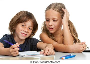 crianças, dever casa, junto.