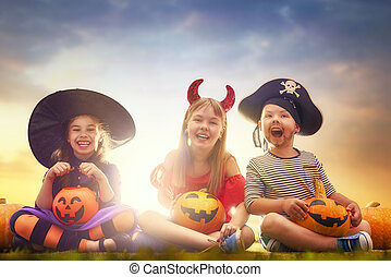 crianças, dia das bruxas