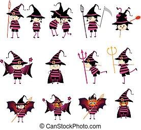 crianças, dia das bruxas, trajes