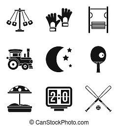 crianças, divertimento, ícones, jogo, simples, estilo