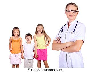 crianças, doutor familiar