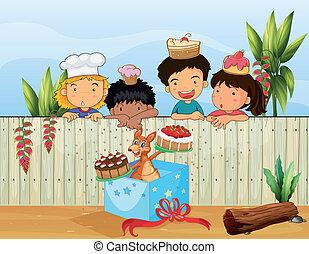 crianças, e, a, diferente, bolos
