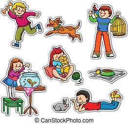 crianças, e, animais estimação
