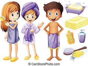 crianças, e, banheiro, objetos