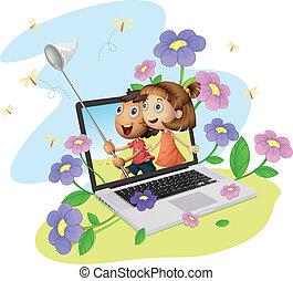 crianças, e, computador
