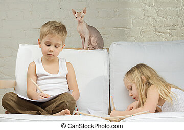 crianças, e, gatinho, lar, -, lazer