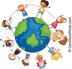 crianças, e, globo