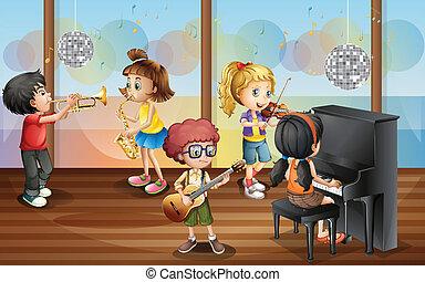 crianças, e, música
