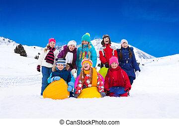 crianças, e, neve