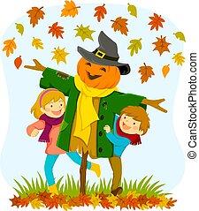 crianças, e, um, espantalho, em, outono