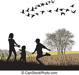 crianças, em, a, outono, país