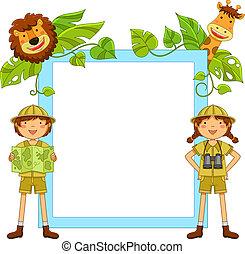 crianças, em, a, selva