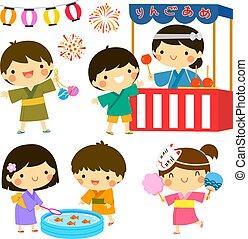 crianças, em, a, verão, festival, em, japão