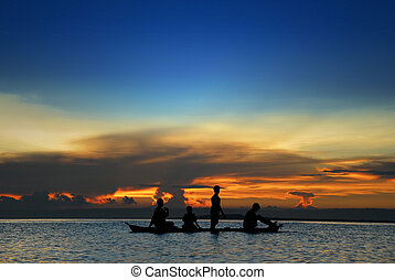 crianças, em, canoa, em, tropicais, pôr do sol