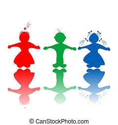 crianças, em, cores