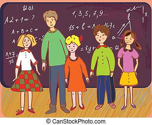 crianças, em, escola, com, professor, em, a, quadro-negro