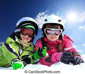crianças, em, esqui, roupa