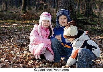 crianças, em, floresta