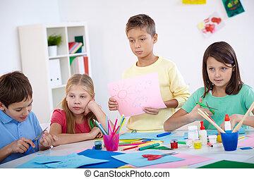 crianças, em, lição
