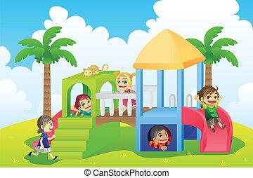 crianças, em, pátio recreio
