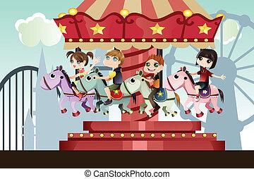 crianças, em, parque divertimento