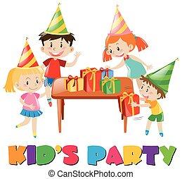 crianças, em, partido aniversário