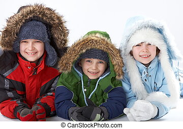 crianças, em, roupa inverno