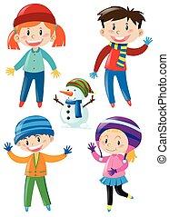 crianças, em, roupas inverno, e, boneco neve
