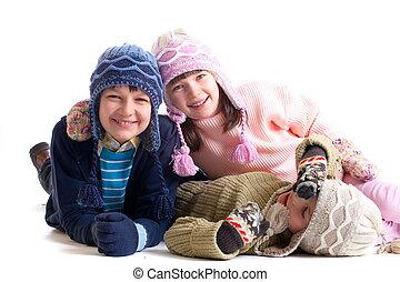 crianças, em, roupas inverno