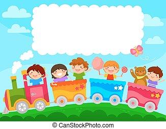 crianças, em, um, trem