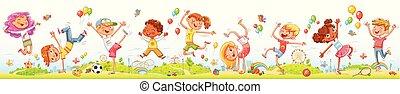 crianças, entretenimento, dançar, parque, junto, pular, divertimento, feliz