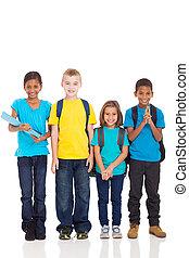 crianças escola, branco, fundo