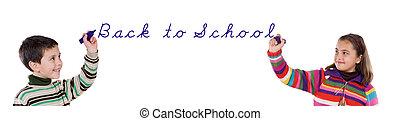 crianças escola, costas, dois, escrita