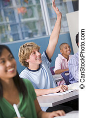 crianças escola, em, escola secundária, classe